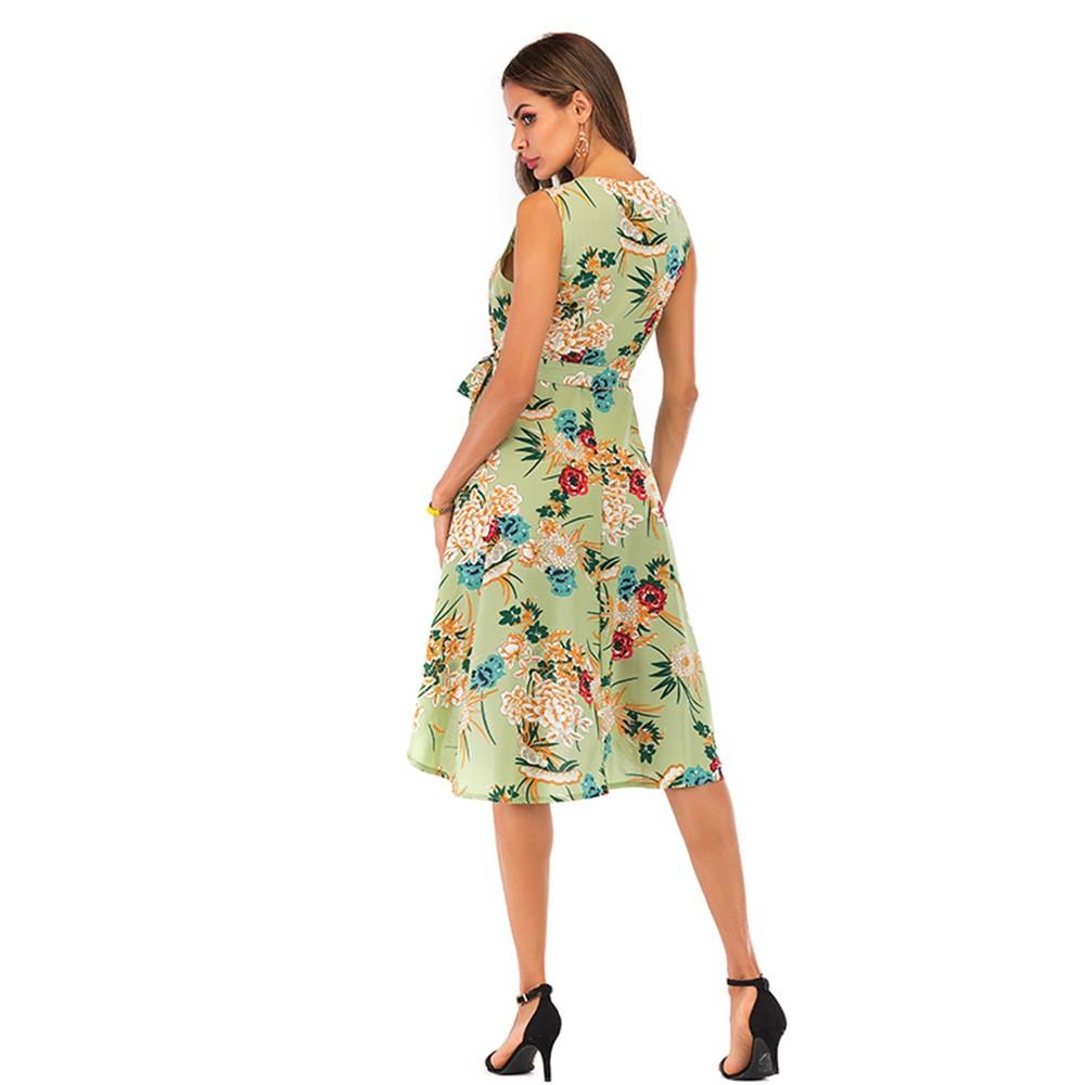 Women's Printed V-Neck Midi Irregular Dress With Belt